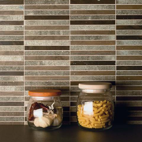 Ideamarmo Linea Line, Cucina con mosaico in marmo Kaeser Brown