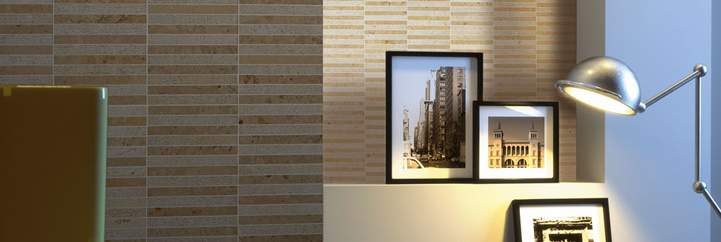 Slide - Linea Line in mosaico in marmo crema luna - Living