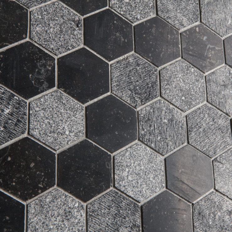 Ideamarmo Linea Esagonale | Mosaico in marmo/limestone Pierre Blue Belge