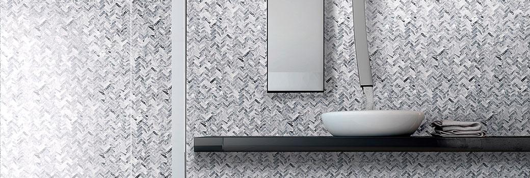 Mosaico a parete in Bardiglio nuvolato