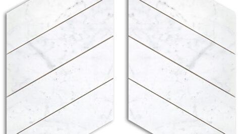 Bianco Carrara levigato mosaico chevron
